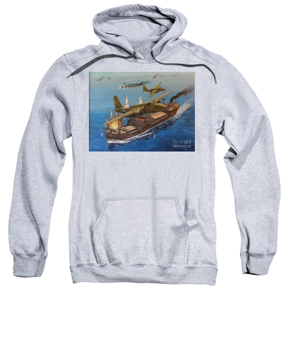 Wwii Sweatshirt featuring the painting Battle Of The Bismark Sea by Michael Hagel