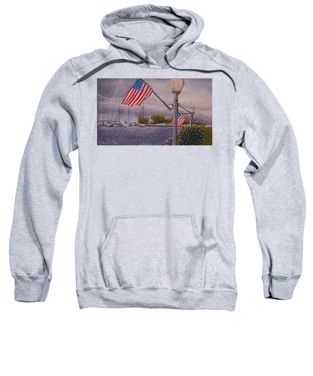 Rick Huotari Sweatshirt featuring the painting Bayfield On The 4th by Rick Huotari