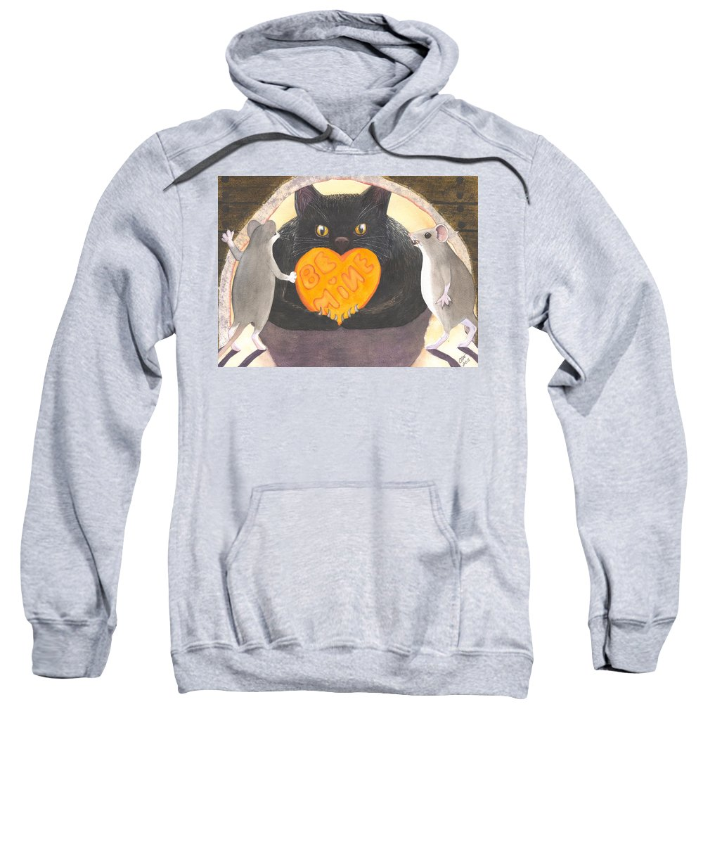 Cat Sweatshirt featuring the painting Be Mine by Catherine G McElroy