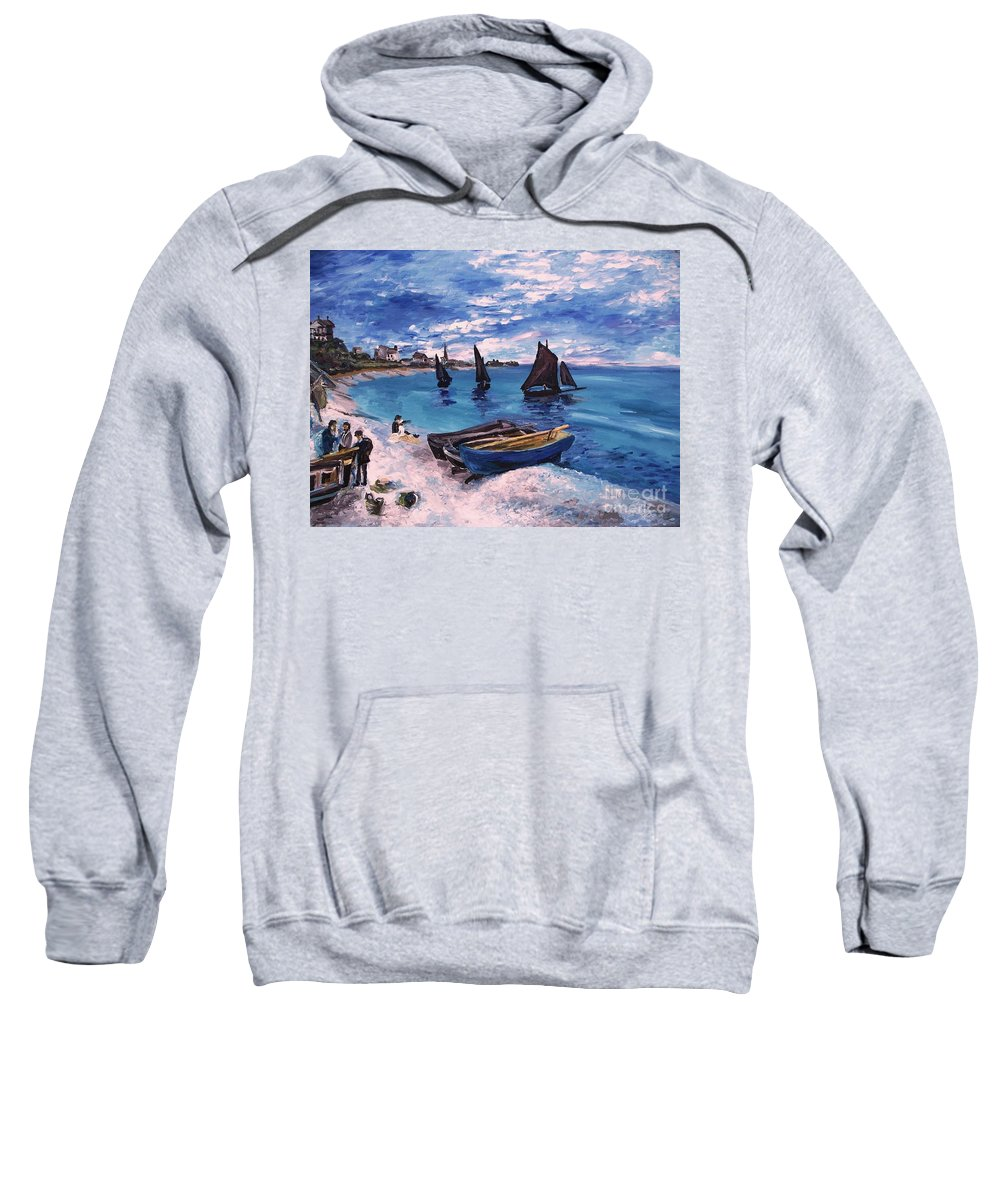 Monet Sweatshirt featuring the painting Beach At Sainte Adresse Monet by Eric Schiabor