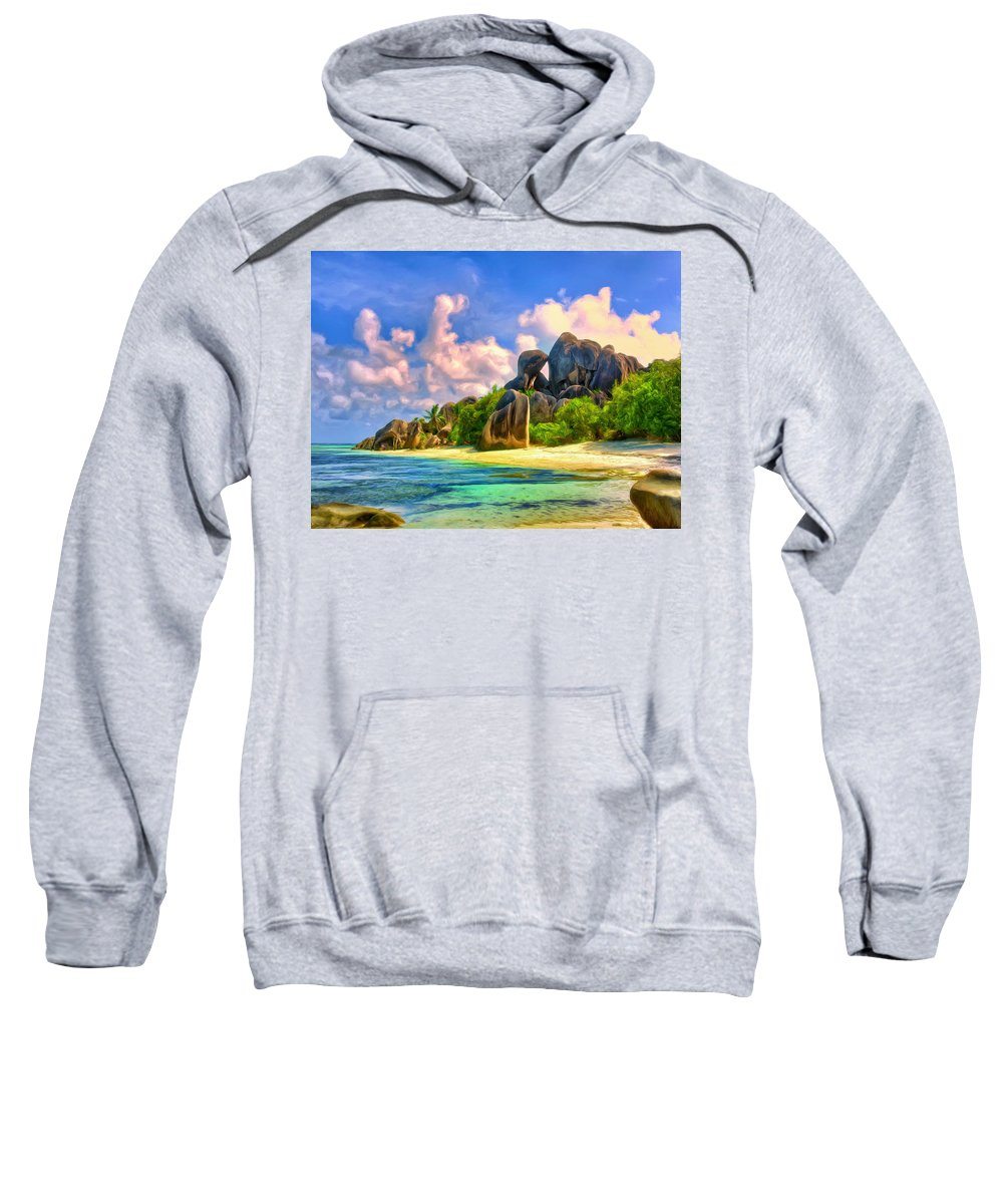 Beach Sweatshirt featuring the painting Beach Cove On La Digue by Dominic Piperata