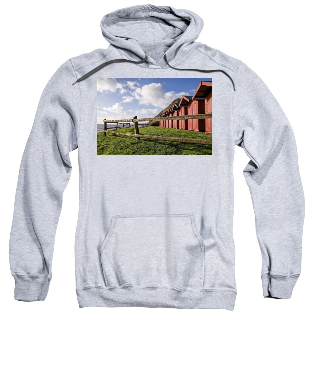 Branscombe Sweatshirt featuring the photograph Beach Huts At Branscombe by Susie Peek