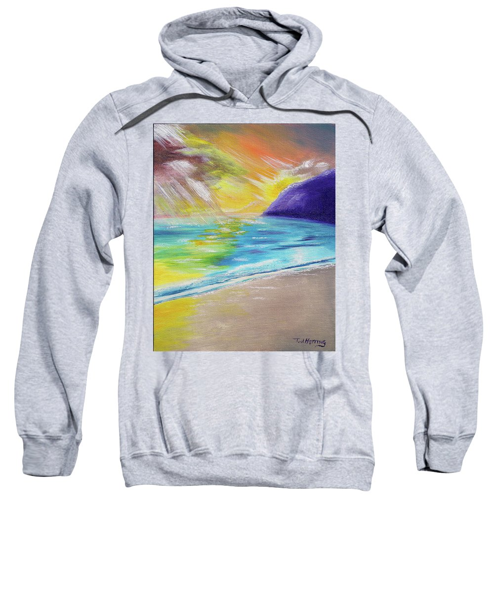 Landscape Sweatshirt featuring the painting Beach Reflection by Thomas J Herring