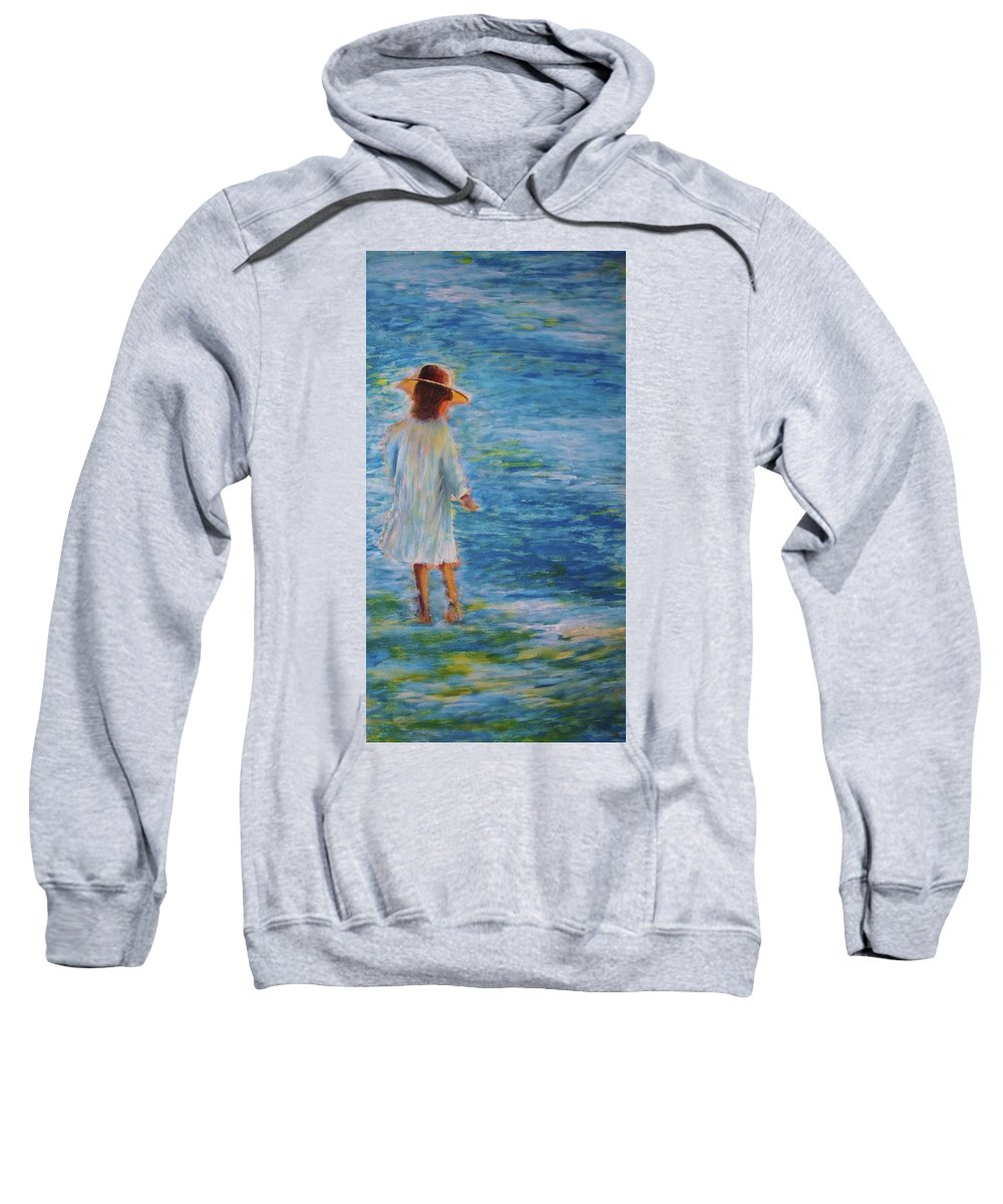 Water Sweatshirt featuring the painting Beach Walker by John Scates
