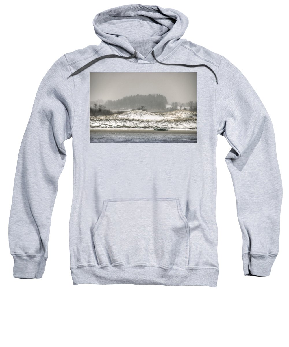 Cedar Point Sweatshirt featuring the photograph Beached Boat Winter Storm by David Stone