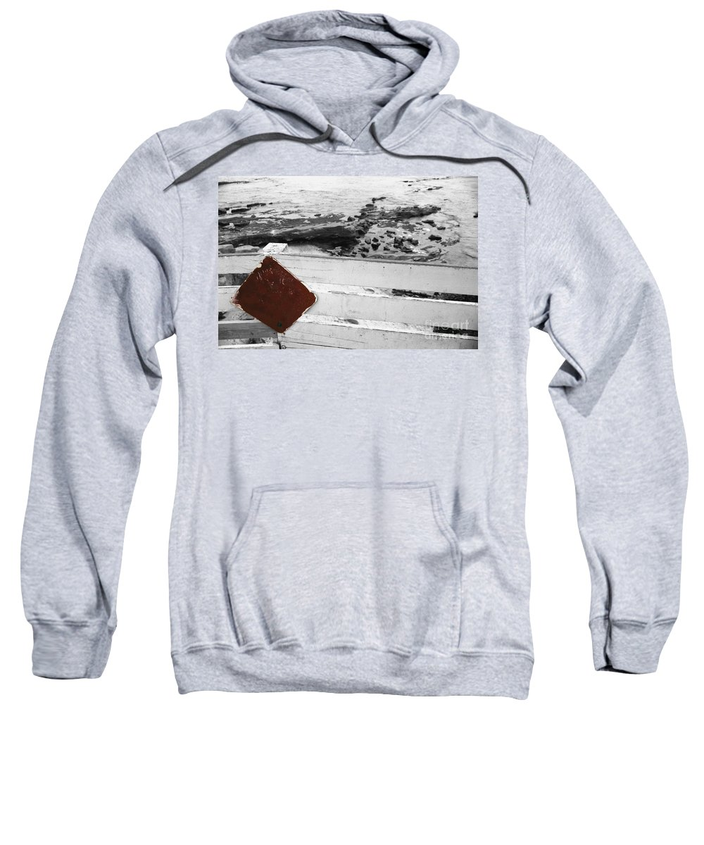 Sign Sweatshirt featuring the photograph Beachside Warning Horizontal Bw With Colorized Red Sign by Heather Kirk