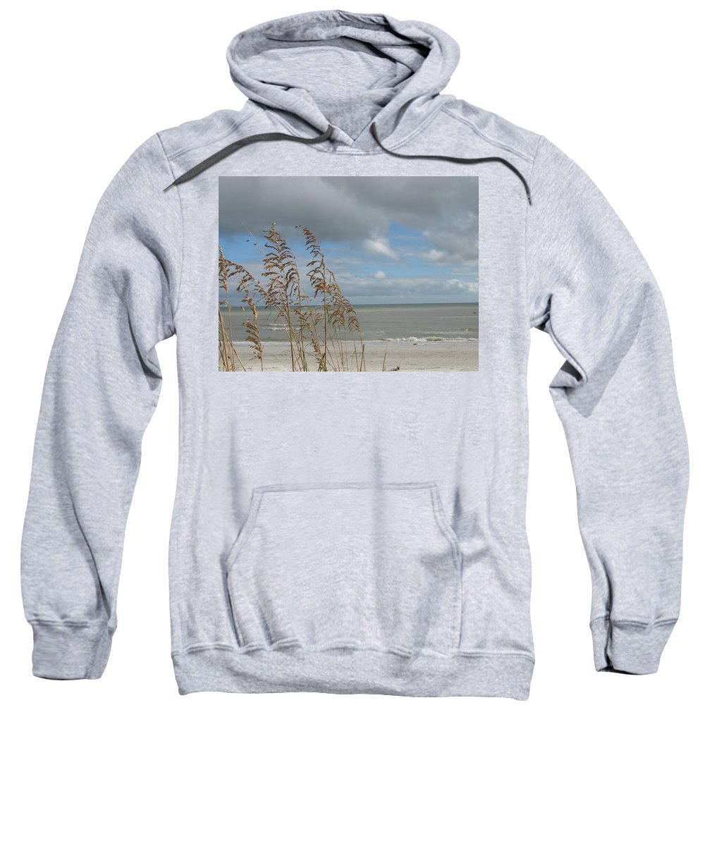 Beach Sweatshirt featuring the photograph Beachview With Seaoat by Christiane Schulze Art And Photography