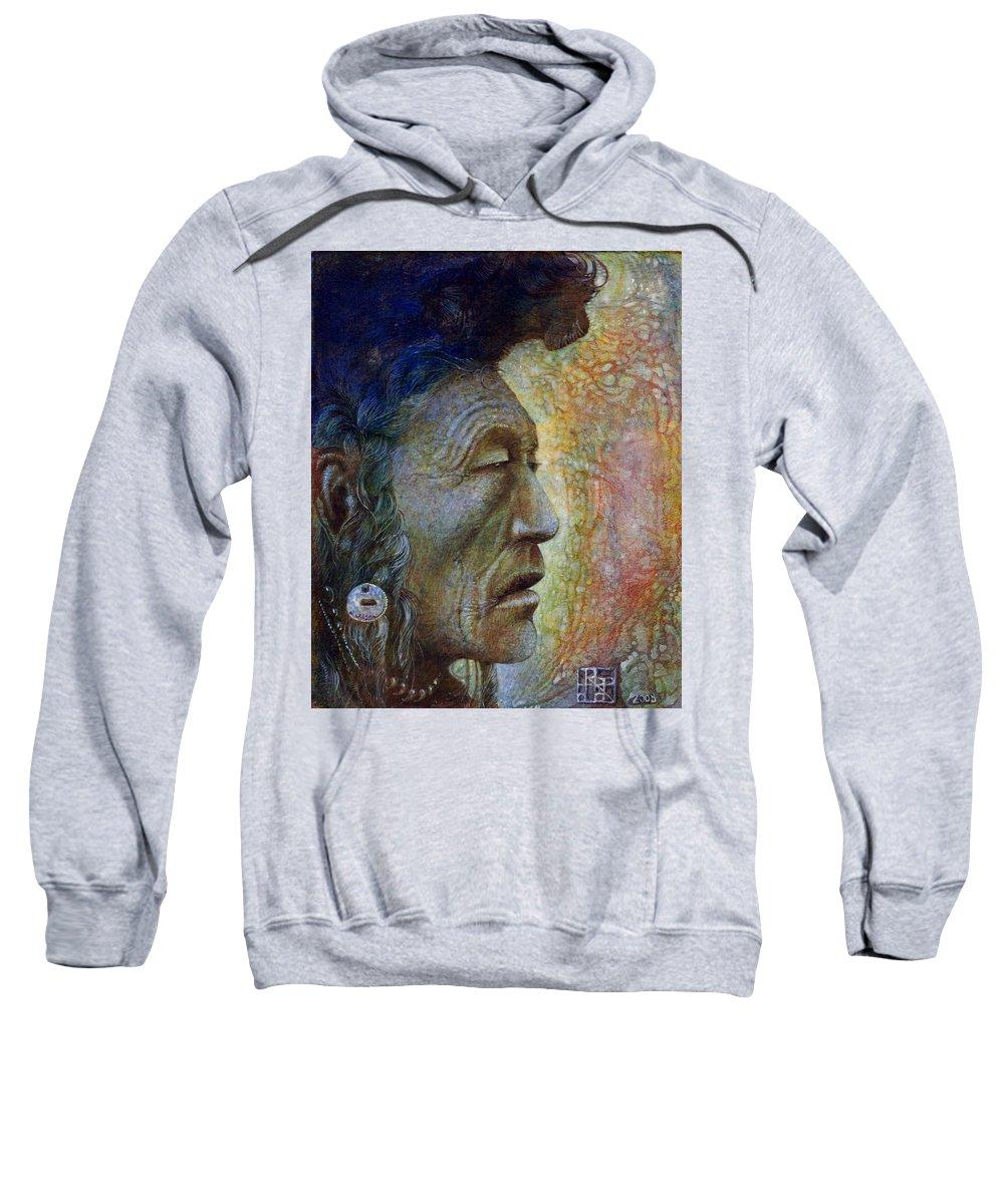 Bear Bull Sweatshirt featuring the painting Bear Bull Shaman by Otto Rapp