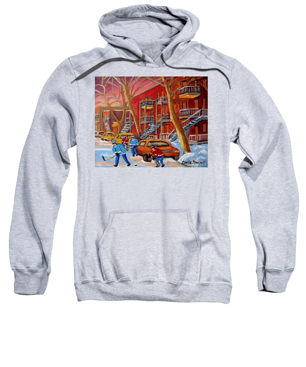 Sweatshirt featuring the painting Beautiful Day For Hockey by Carole Spandau