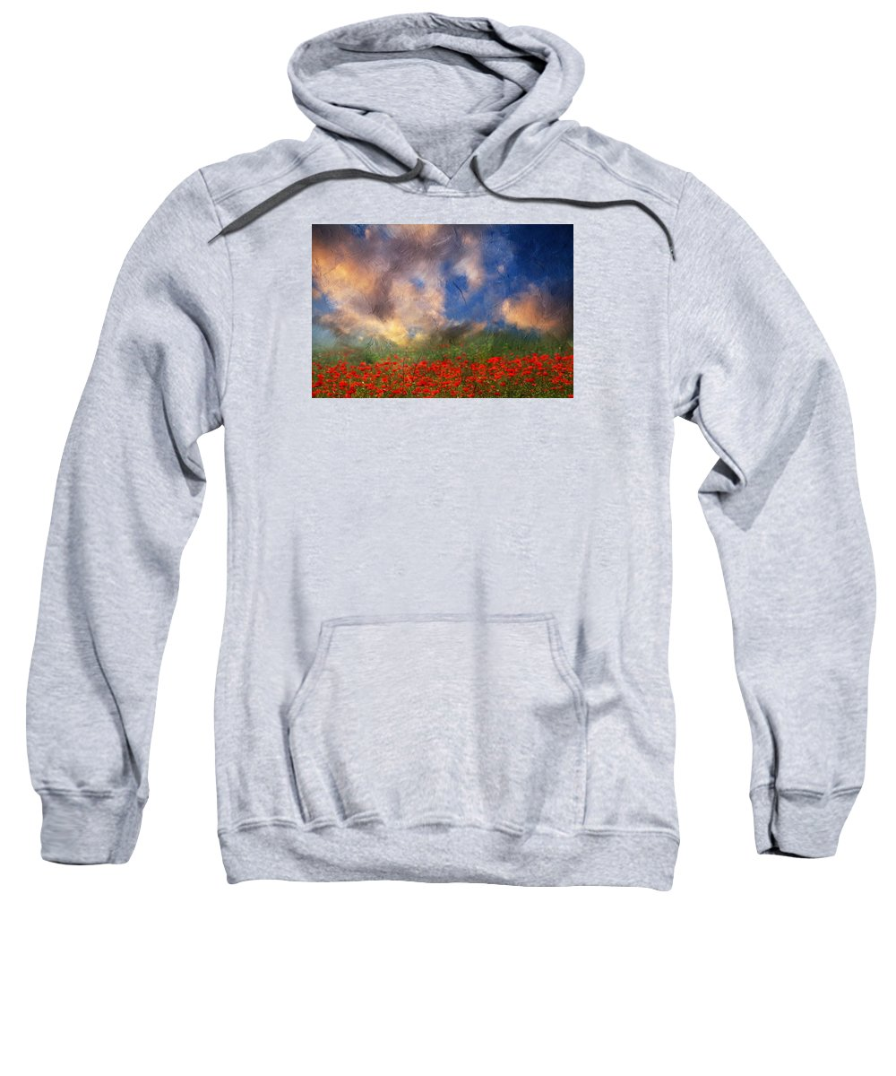 Landscape Sweatshirt featuring the mixed media Beauty And The Beast Of Nature by Georgiana Romanovna