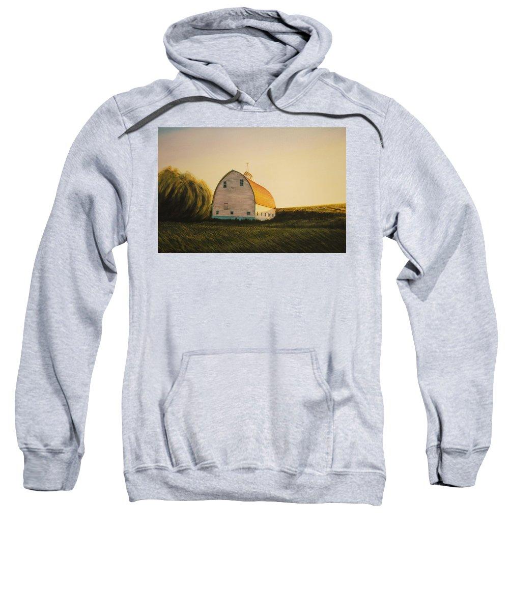 Landscape Sweatshirt featuring the painting Becker Barn by Leonard Heid