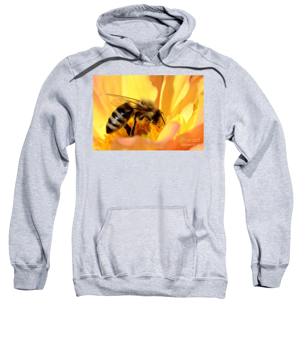 Bee Sweatshirt featuring the photograph Bee In Flower by Dianne Phelps