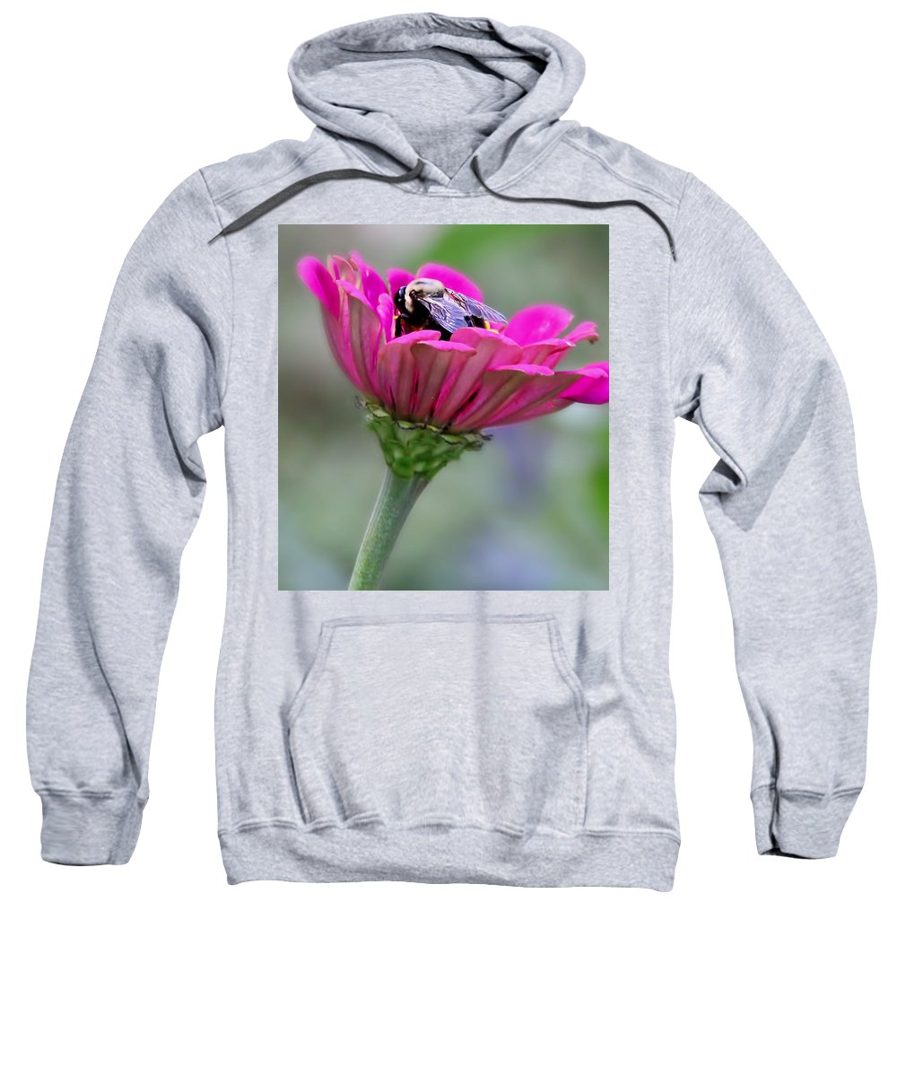 Bee Sweatshirt featuring the photograph Bee In Pink Flower by Deb Buchanan