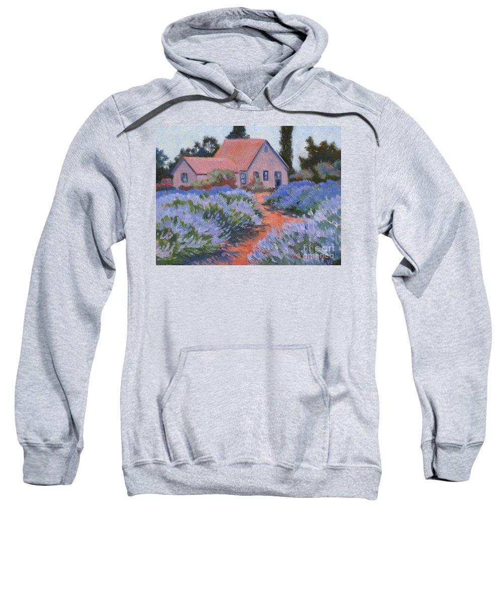 Lavender Sweatshirt featuring the painting Beekman Lavender Field by Rhett Regina Owings