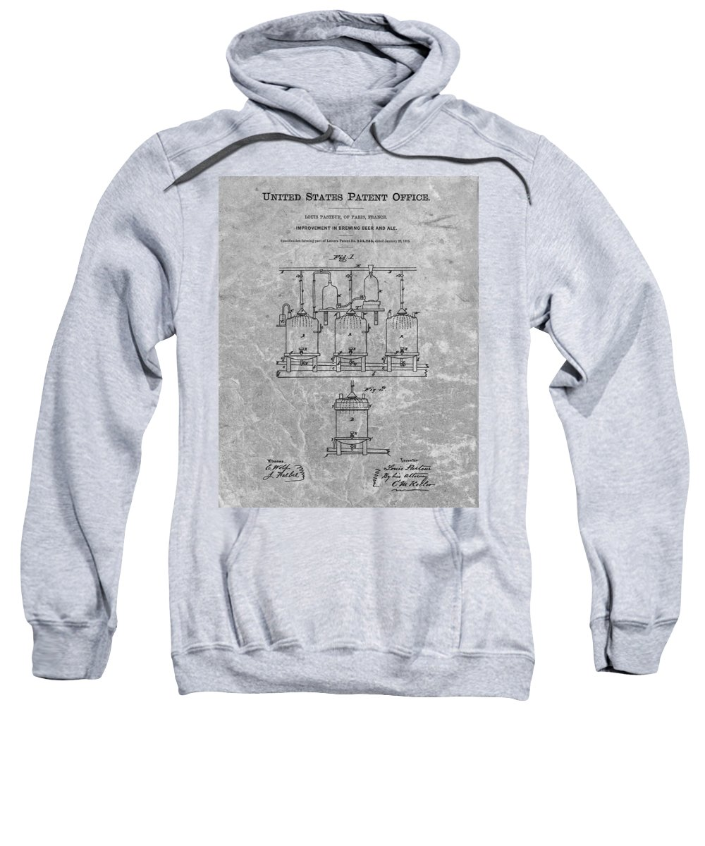Beer Brewery Patent Sweatshirt featuring the drawing Beer Brewery Patent Charcoal by Dan Sproul