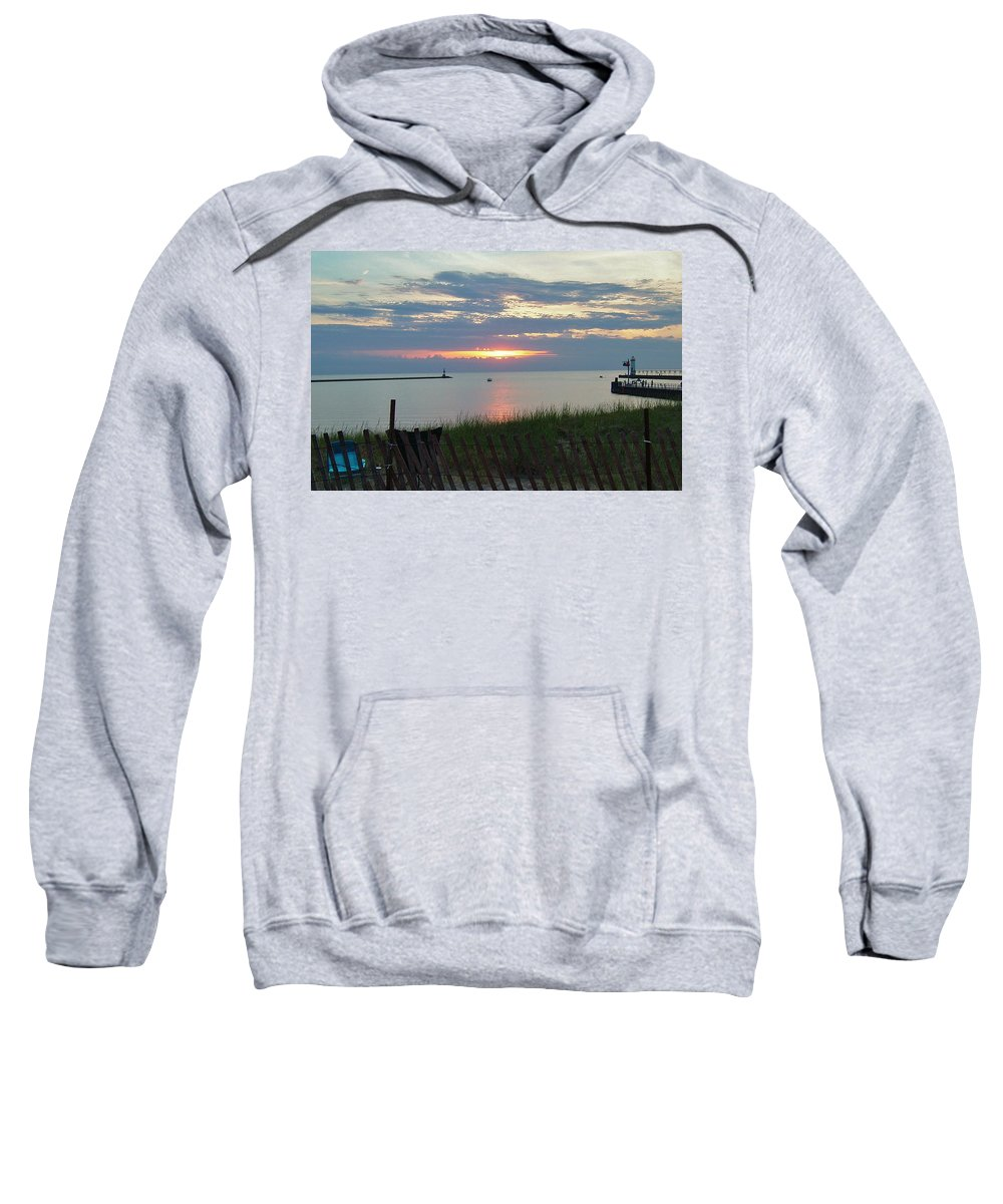 Manistee Sweatshirt featuring the photograph Before The Fireworks by Susan Wyman