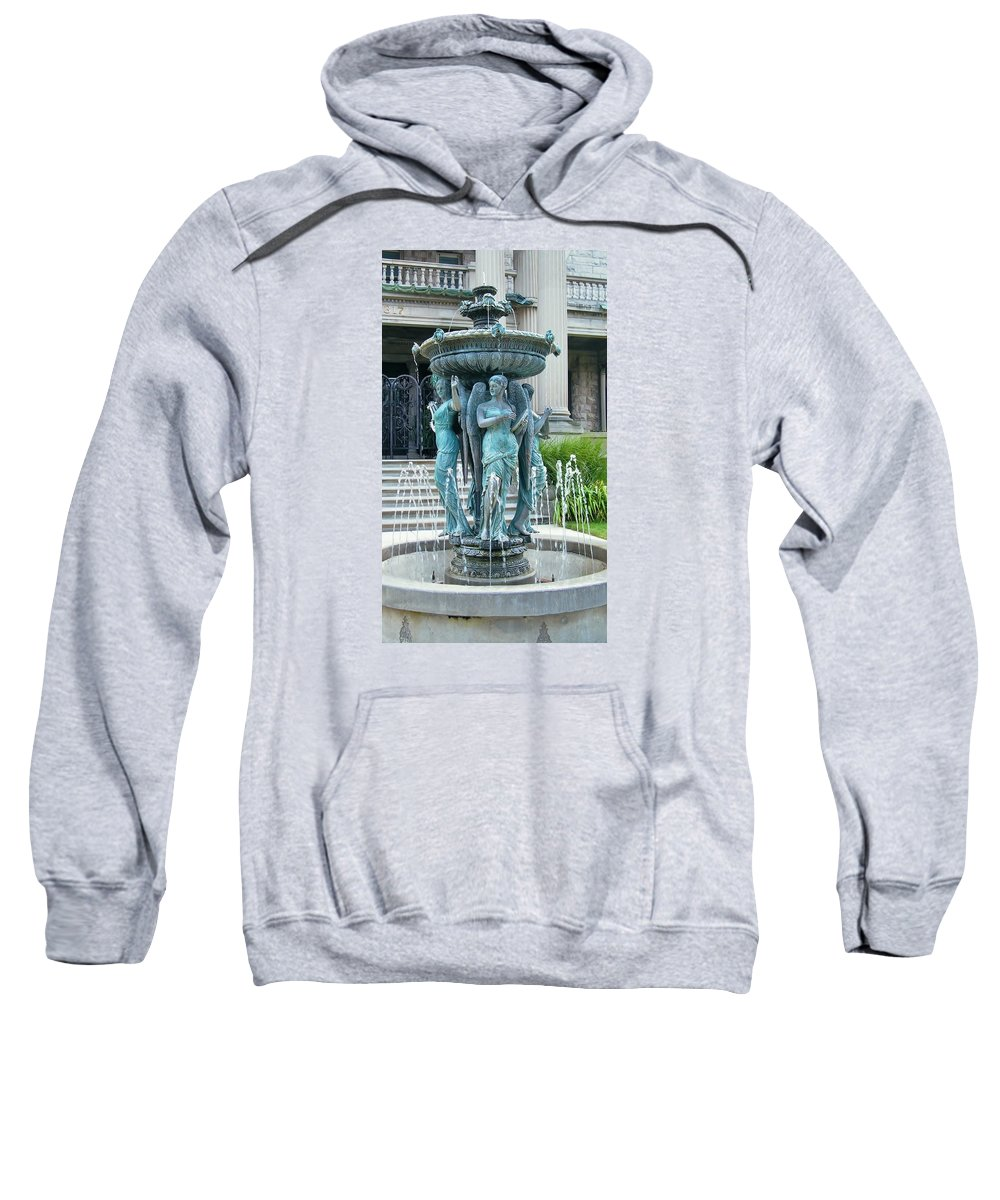 Fountain Sweatshirt featuring the photograph Beiger Mansion Fountain Mishawaka Indiana by Rory Cubel
