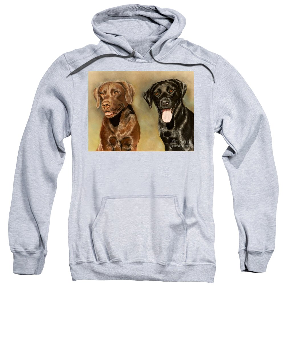Labrador Sweatshirt featuring the drawing Bella And Sophie by Caroline Collinson