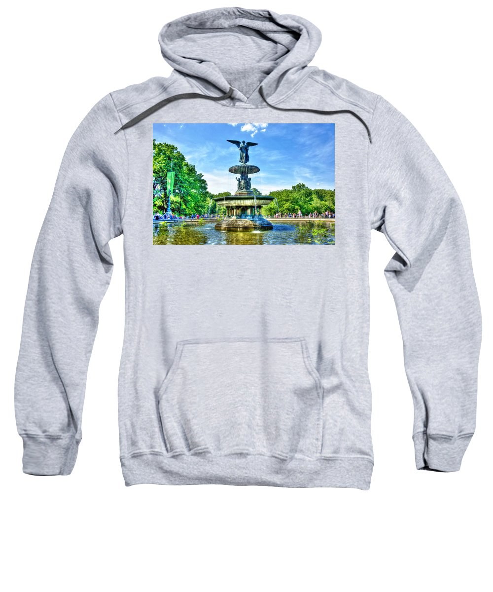 Bethesda Sweatshirt featuring the photograph Bethesda Fountain At Central Park by Randy Aveille