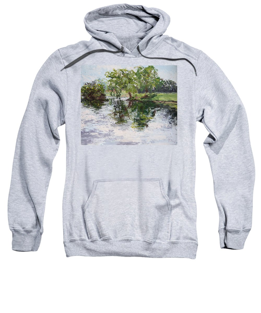 Bevier Park Sweatshirt featuring the painting Bevier Park In The Rain by Mary Haas