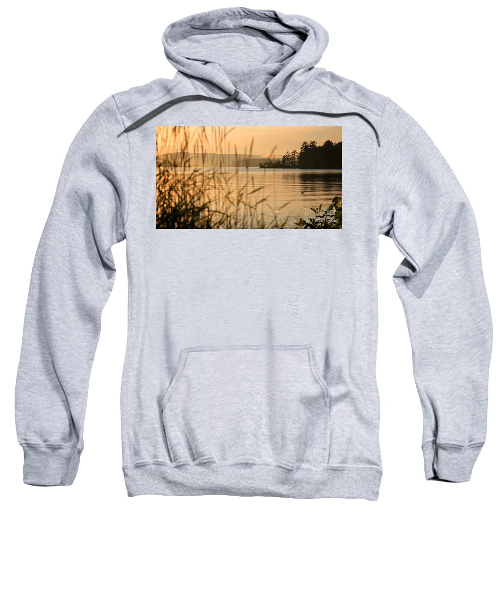 Sunset Meredith Nh Sweatshirt featuring the photograph Beyond The Grass by Michael Mooney