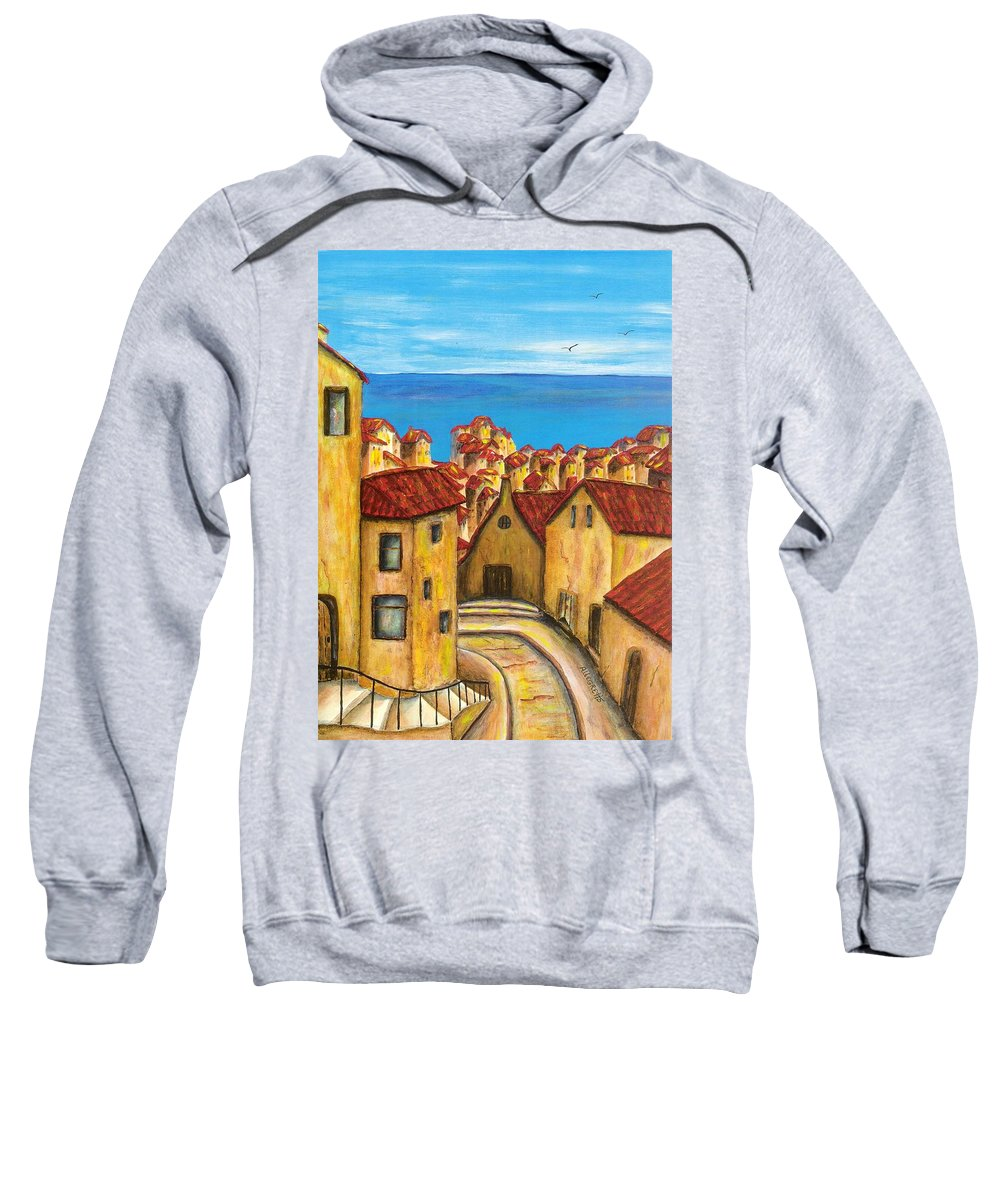 Pamela Allegretto Sweatshirt featuring the painting Biagi In Tuscany by Pamela Allegretto
