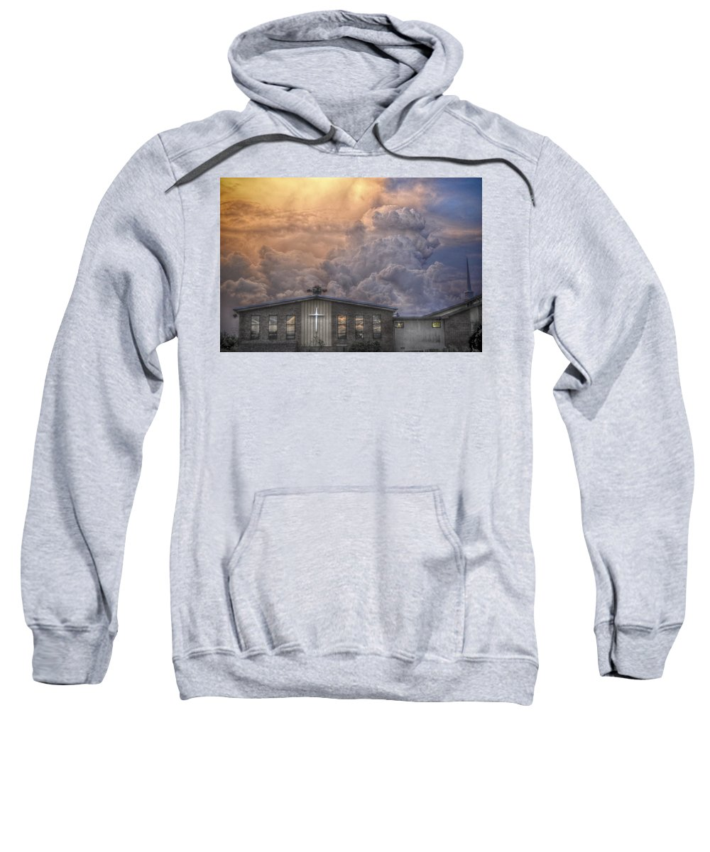Church Sweatshirt featuring the mixed media Biblical Sunset by Trish Tritz