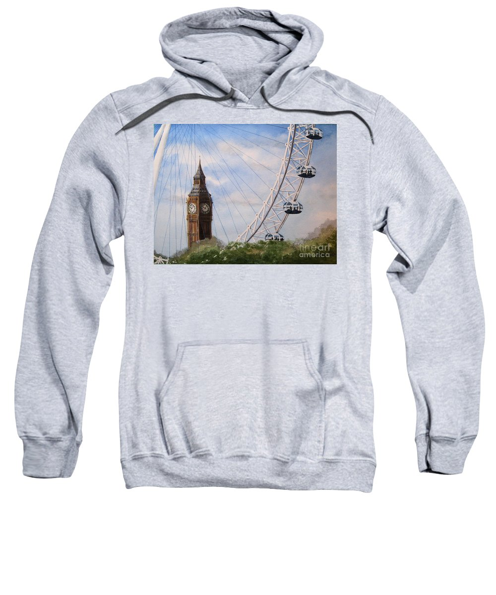 London Sweatshirt featuring the painting Big Ben And The London Eye by Diane Marcotte