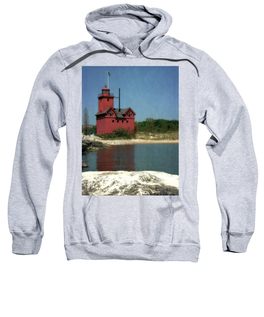 Michigan Sweatshirt featuring the photograph Big Red Holland Michigan Lighthouse by Michelle Calkins