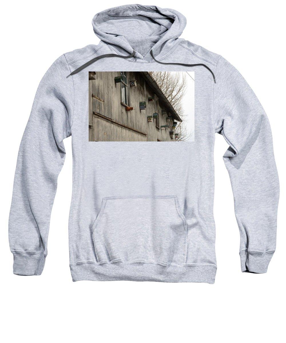 Bird Houses Sweatshirt featuring the photograph Bird Houses by Jay Ressler