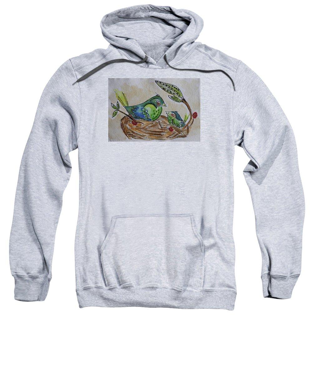 Birds Sweatshirt featuring the painting Bird Talk by Carrie Godwin