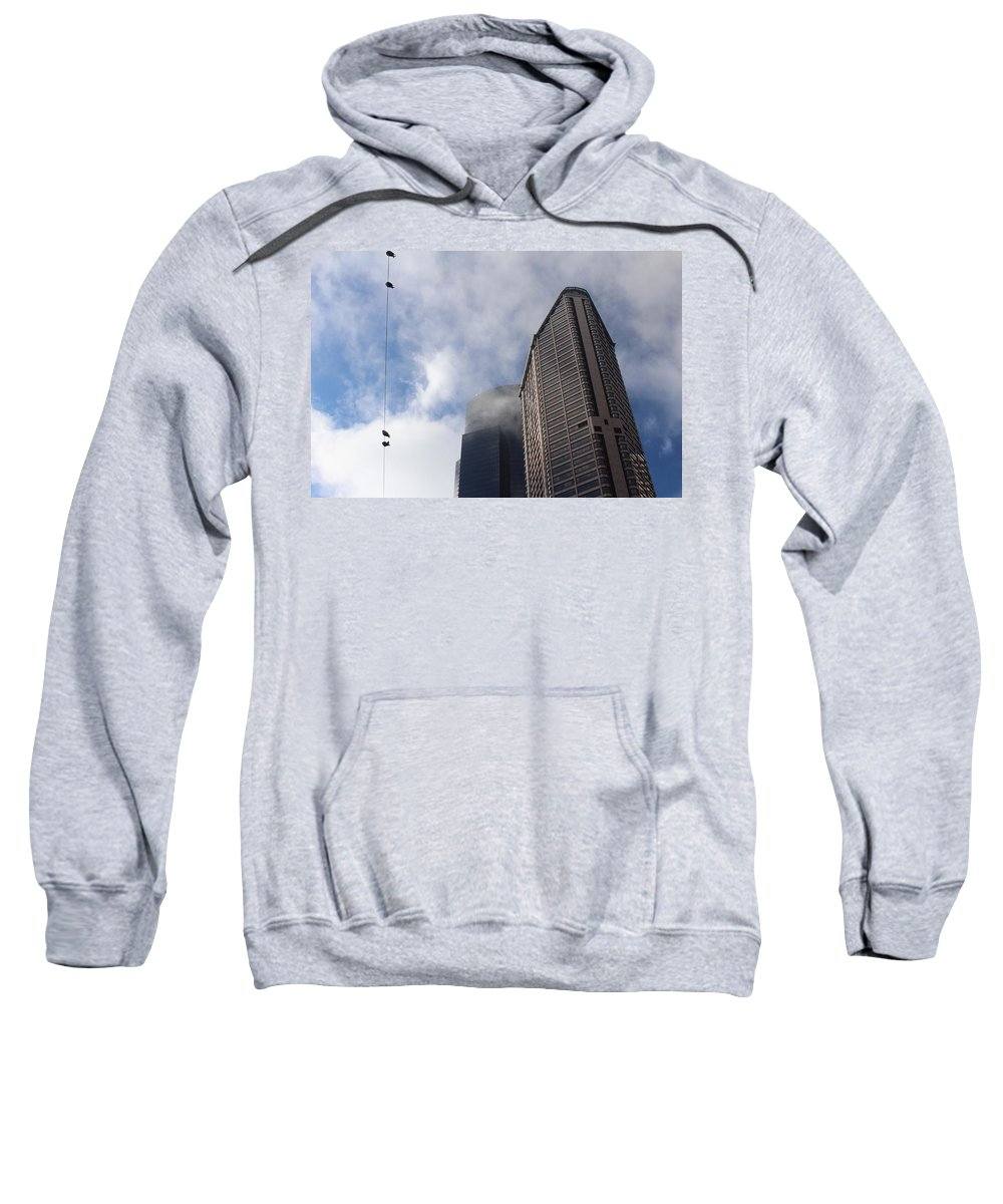 Building Sweatshirt featuring the photograph Birds On A Wire by Suzanne Lorenz