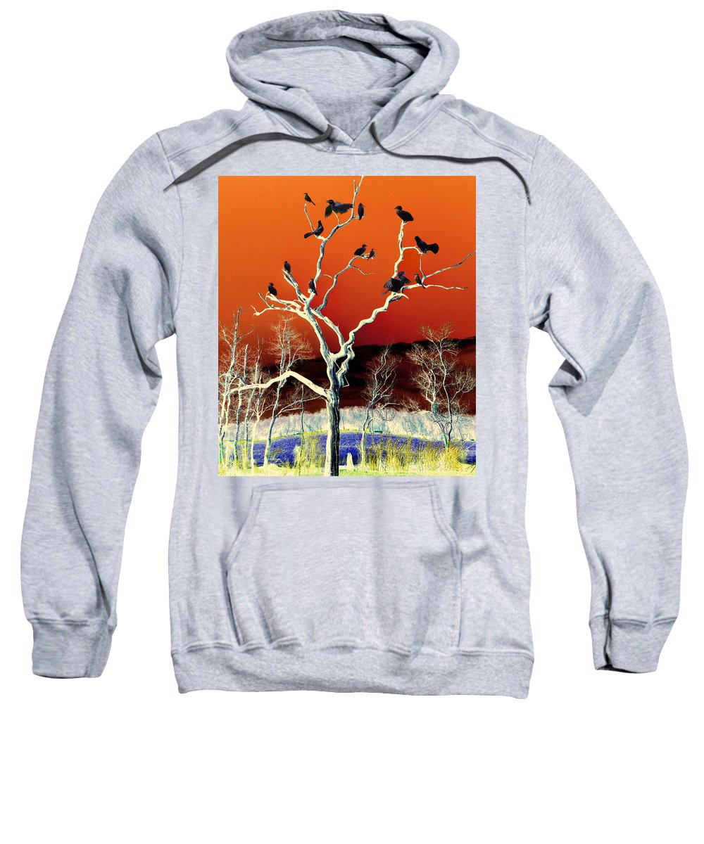 Colors Sweatshirt featuring the mixed media Birds On Tree by Savannah Gibbs