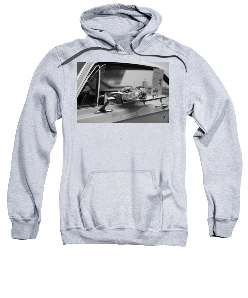 Carhop Sweatshirt featuring the photograph Black And White Carhop by Dan Sproul