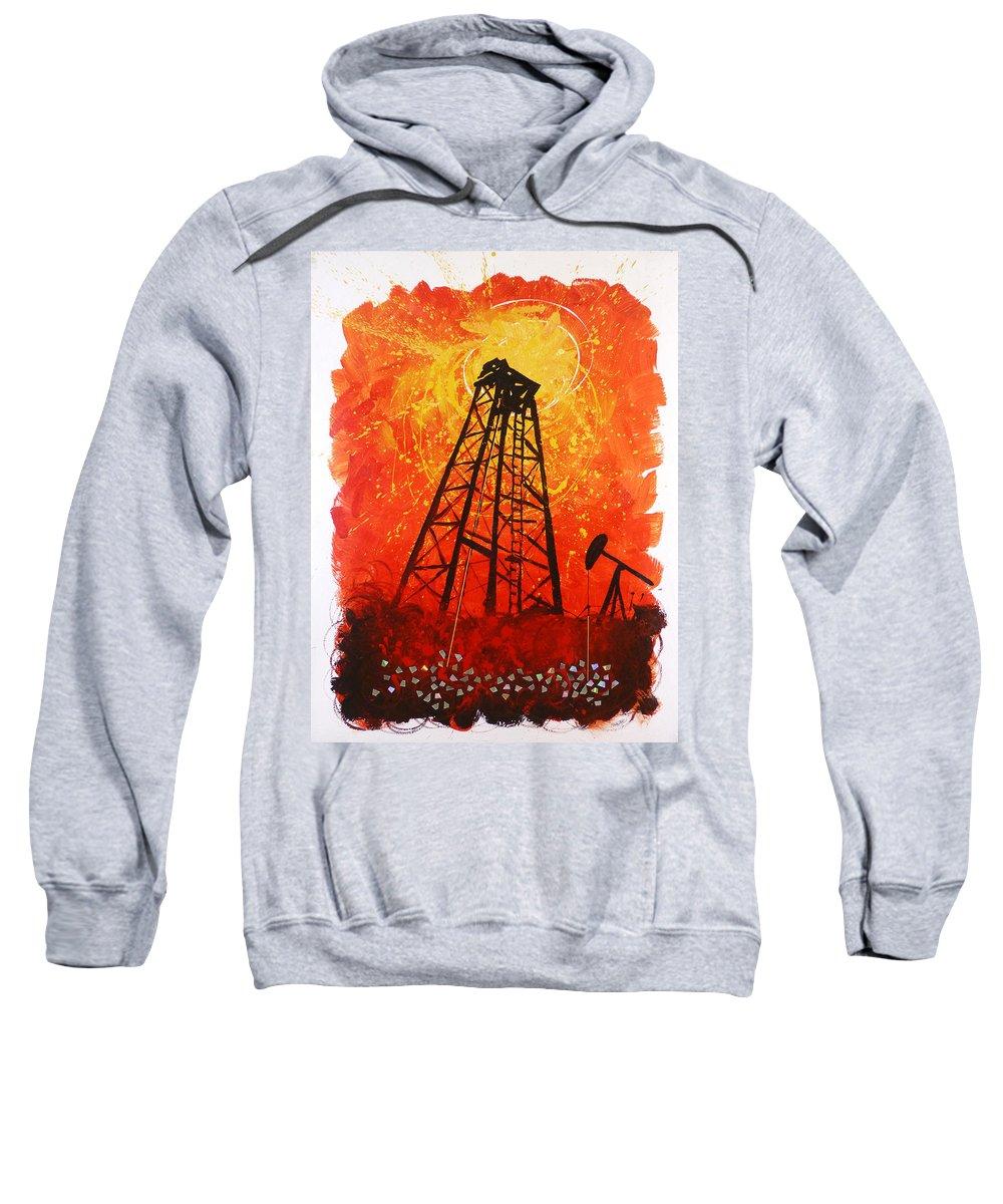 Hanzer Art Sweatshirt featuring the painting Black Gold by Jack Hanzer Susco