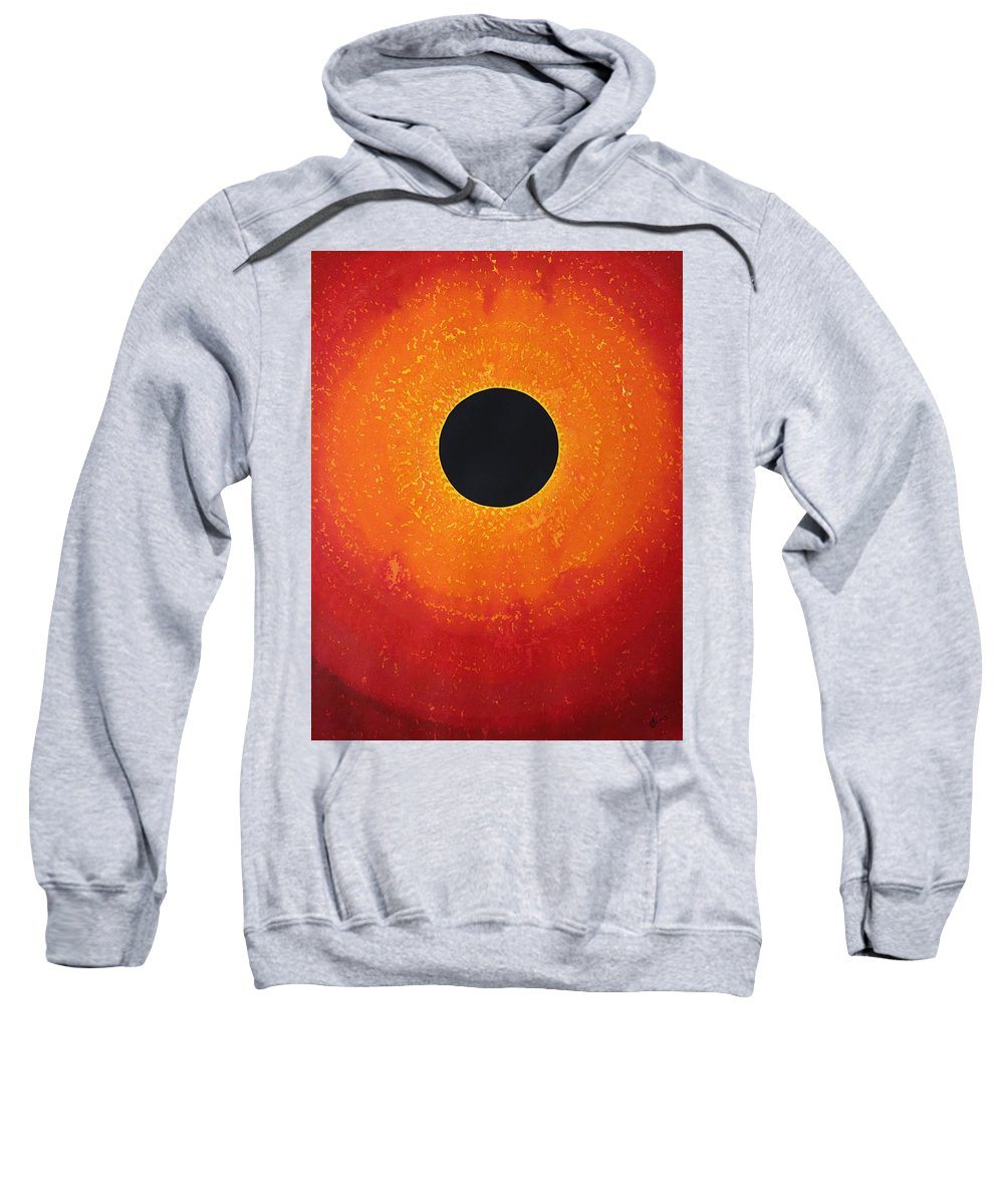 Black Hole Sweatshirt featuring the painting Black Hole Sun Original Painting by Sol Luckman