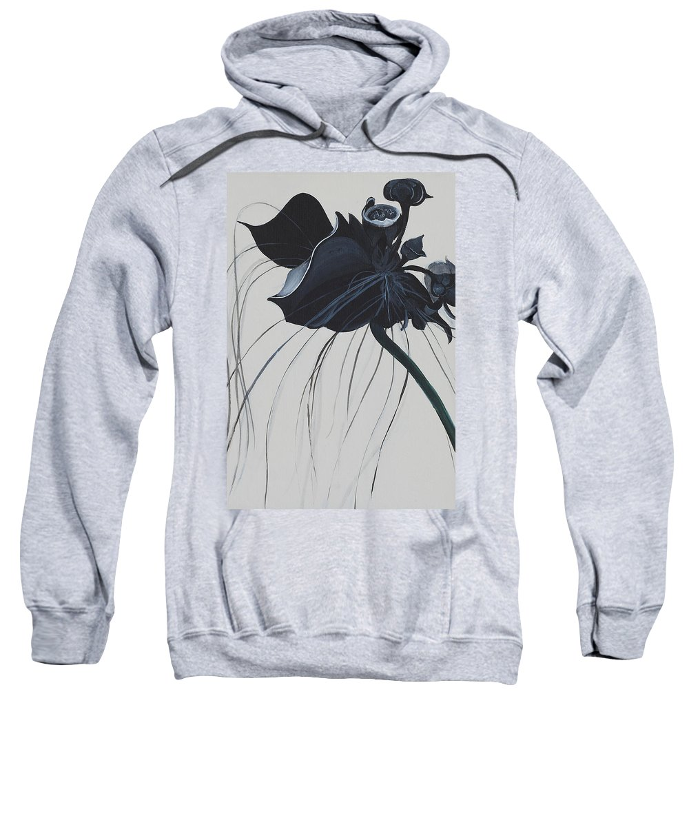 Black Orchid Sweatshirt featuring the painting Black Orchid by Catt Kyriacou