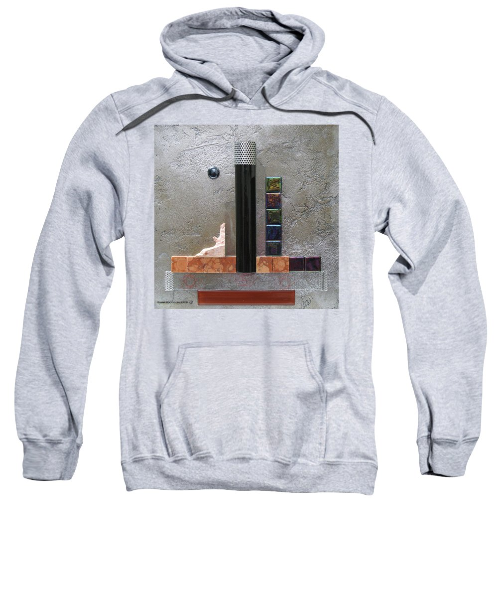 Assemblage Sweatshirt featuring the relief Black Tower by Elaine Booth-Kallweit
