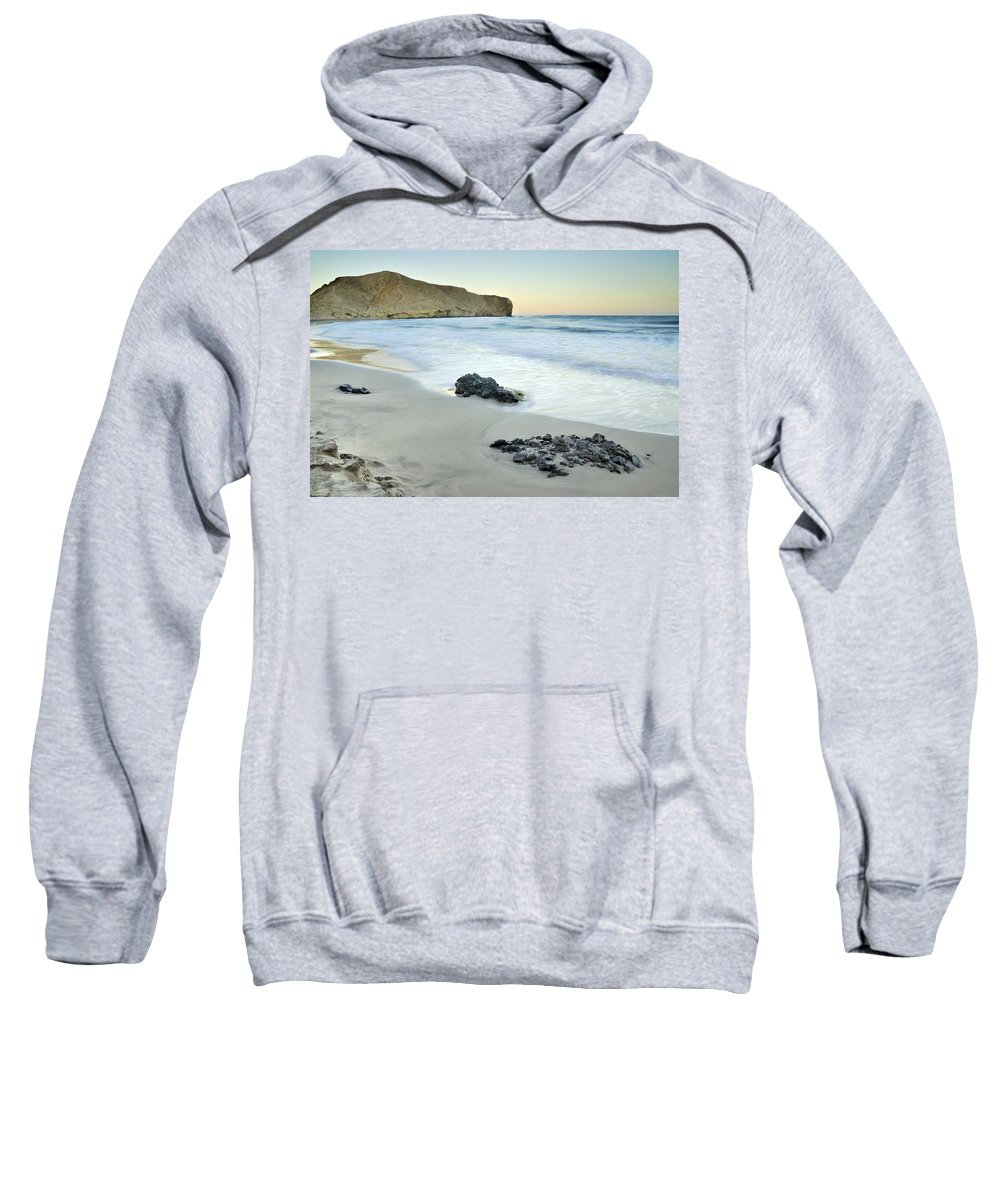 Seascape Sweatshirt featuring the photograph Black Volcanic Rocks by Guido Montanes Castillo