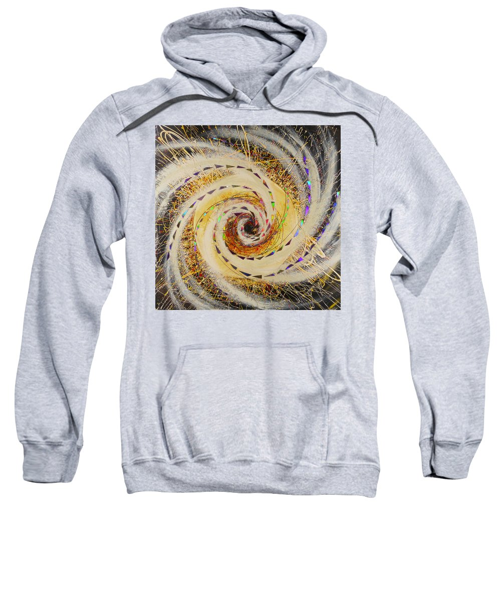 Hanzer Abstract Art Sweatshirt featuring the painting Black Whole by Jack Hanzer Susco