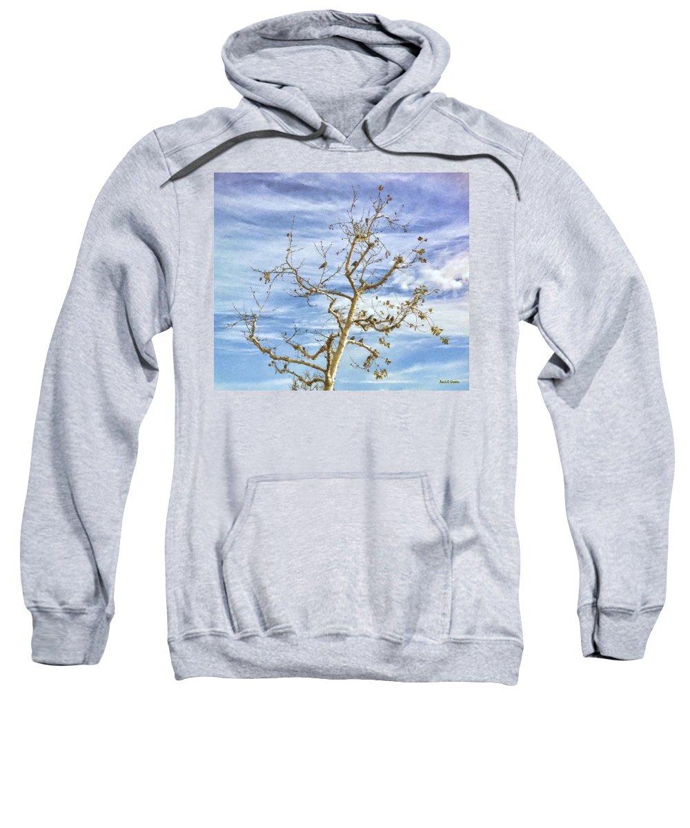 Blackbird Sweatshirt featuring the painting Blackbirds In A Tree by Angela Stanton