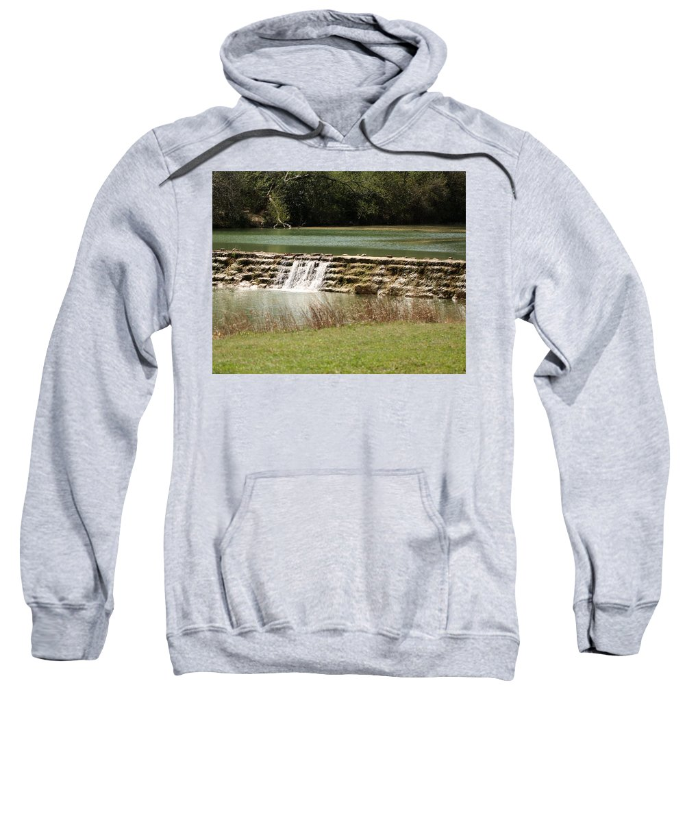 River Sweatshirt featuring the photograph Blanco River Weir by Terry Fleckney