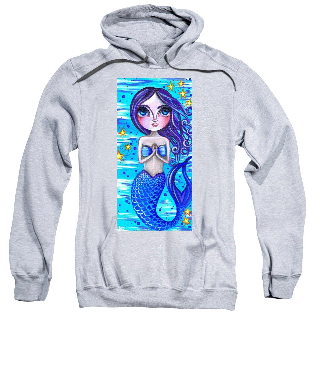 Blue Sweatshirt featuring the painting Blessed Mermaid by Jaz Higgins