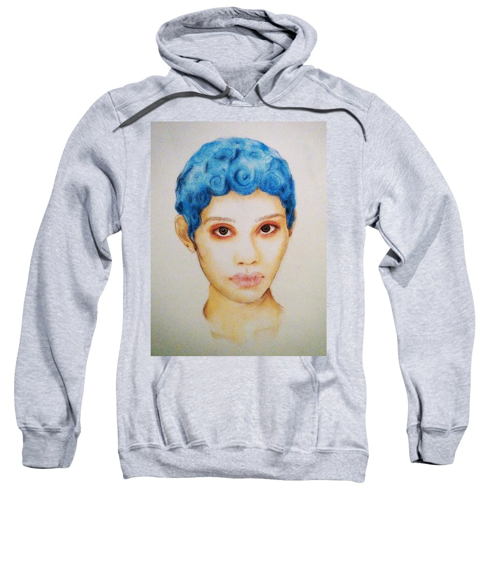 Blue Sweatshirt featuring the drawing Bloo by Courtney James