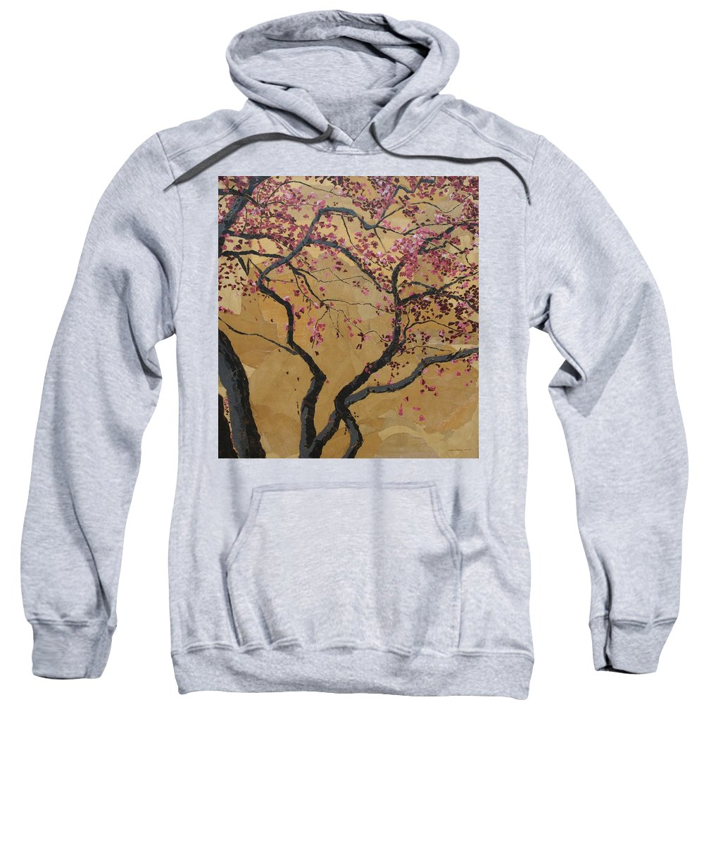 Tree Sweatshirt featuring the painting Blooming Prairie Fire by Leah Tomaino