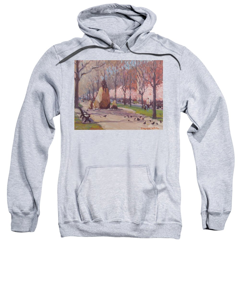 Commonwealth Ave Sweatshirt featuring the painting Blooms On Comm Ave by Dianne Panarelli Miller