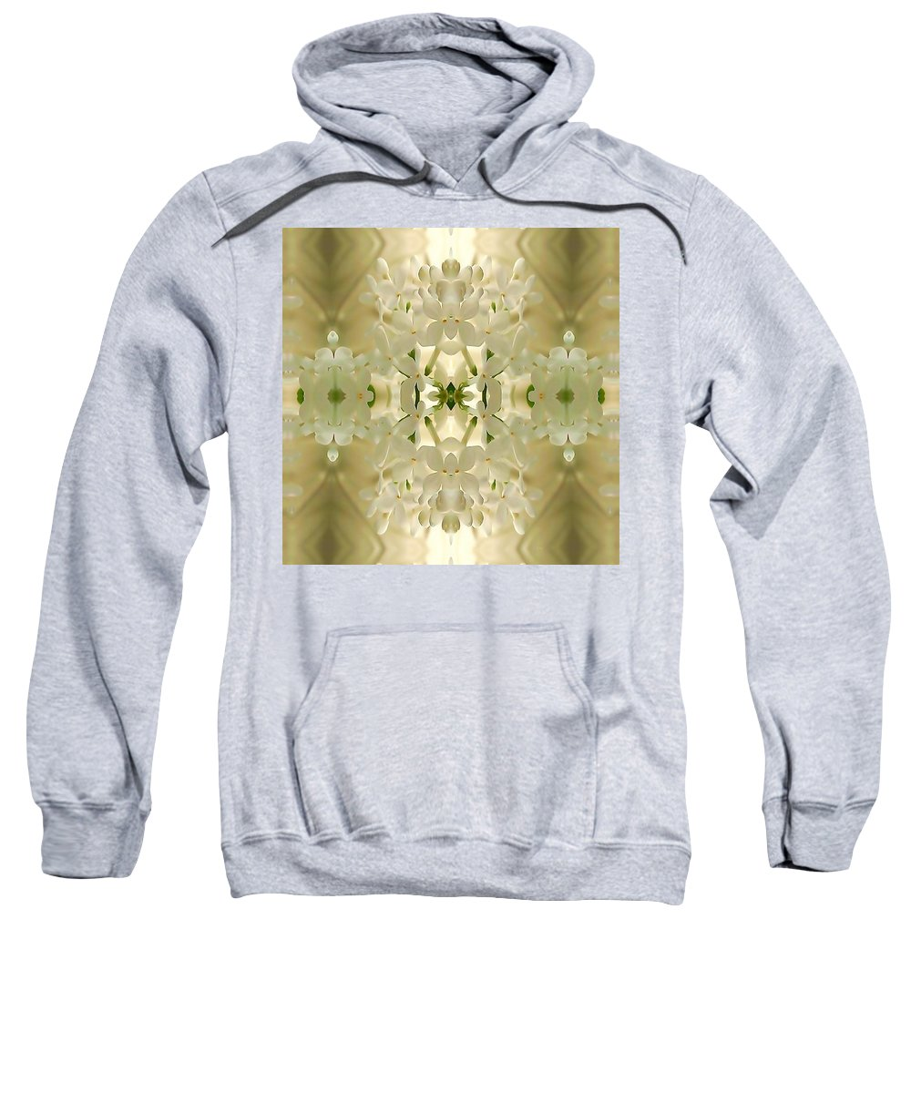 Delicate White-on-cream Blossom Kaleidoscopic Mandala Sweatshirt featuring the digital art Blossom Bouquet Mandala by Richard Jones