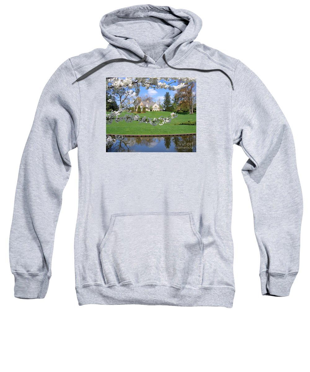 Spring Sweatshirt featuring the photograph Blossom-framed House by Ann Horn