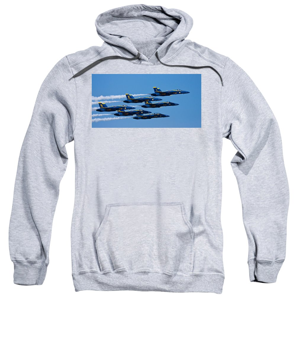 3scape Photos Sweatshirt featuring the photograph Blue Angels by Adam Romanowicz