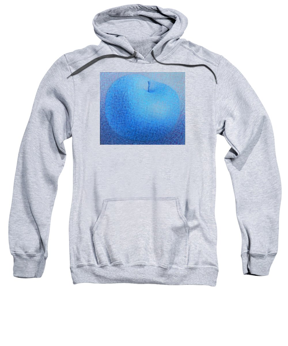 Blue Sweatshirt featuring the painting Blue Apple by Muntean Floare